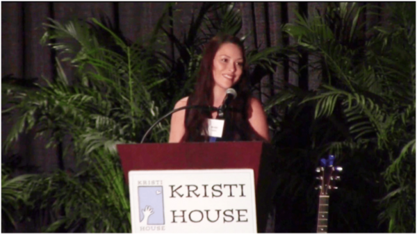 Bradel Canfield presenting to Kristi House's Breaking the Silence Luncheon, May 2018, to audience of 400, Jungle Island, Miami.