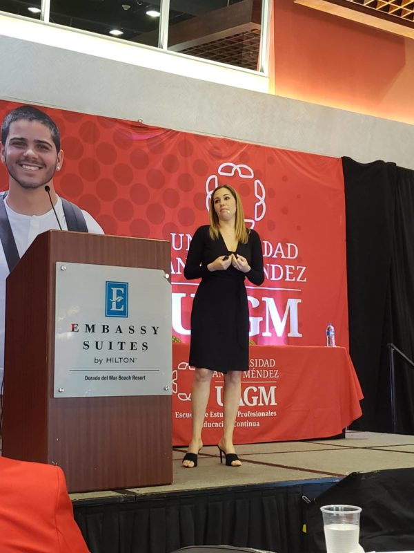 Marta Hasty presenting in San Juan, Puerto Rico, Feb. 2020, at the 4th Annual Symposium on Child Abuse & Trafficking.